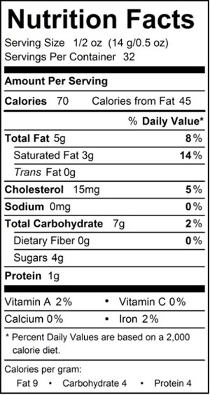 Nutrition Facts for 1 lb