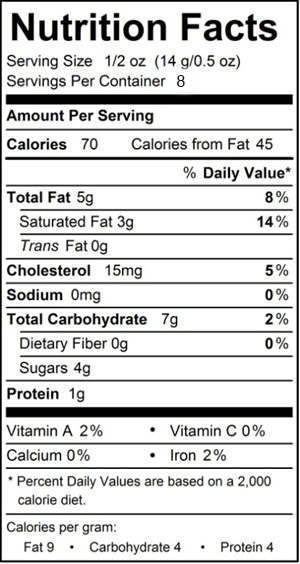 Nutrition Facts for 3 pack